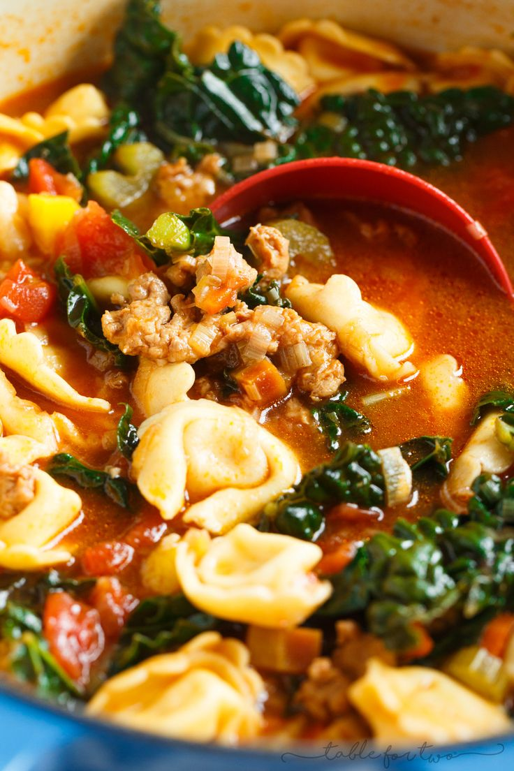 This spicy sausage and vegetable tortellini soup is exactly what you need when cold weather hits!