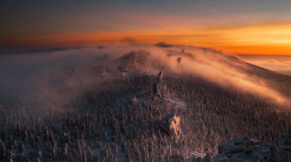 Тьма наступала горы, Снег, зима, закат, фотография, путешествия, Россия, пейзаж