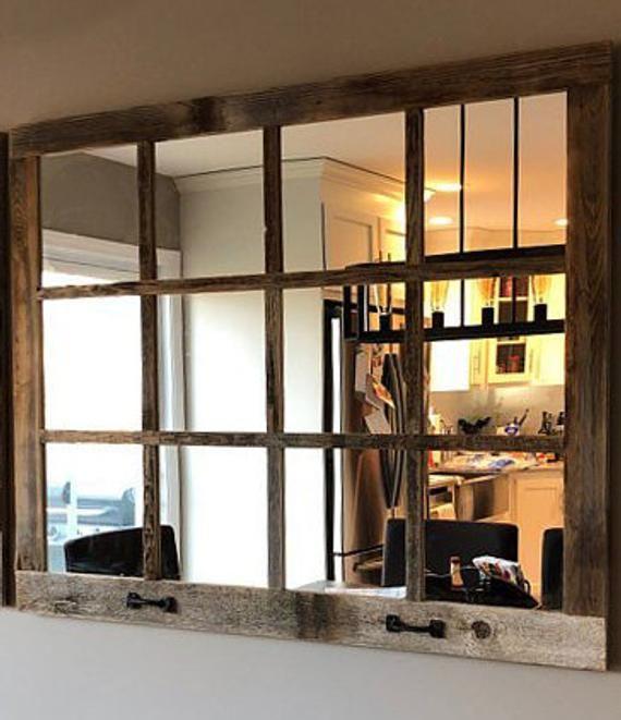 46x 36 Farmhouse Wall Decor Window Mirror Rustic Etsy Window Pane Mirror Rustic Mirrors Rustic Window
