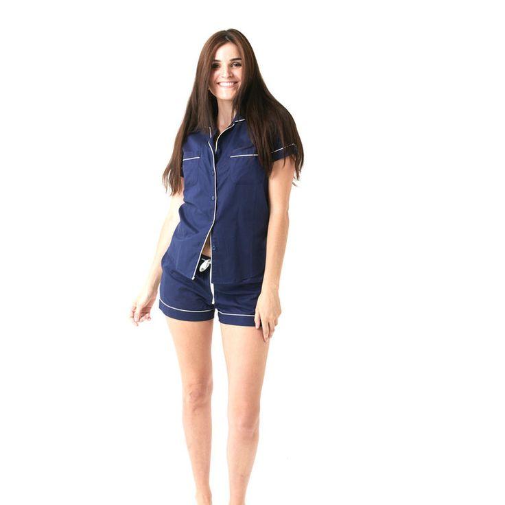 Classic Navy Blue Ladies Pajamas by Hummingbird Nightwear