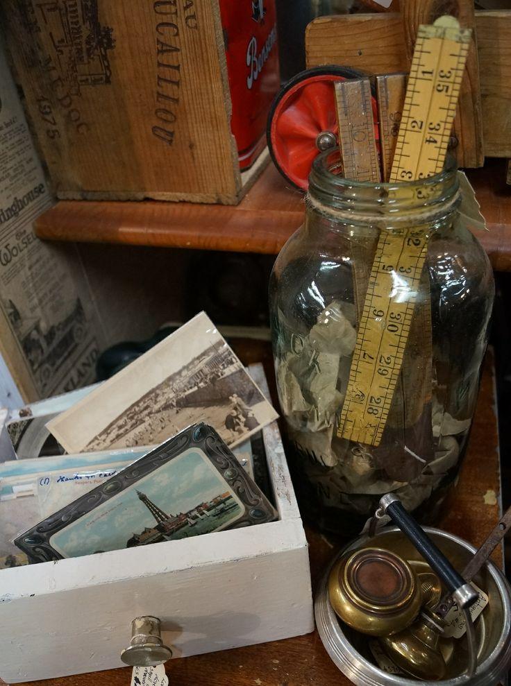 Vintage postcards, boxwood rulers and brass doorknobs. Sold by Vintage Design Shop in Melbourne (www.facebook.com/VintageDesignShop)