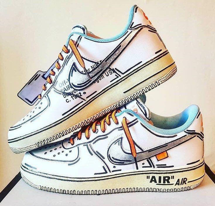 Air Force 1 X Off White Custom Air Force 1 Cartoon Custom Etsy Nike Air Shoes Nike Shoes Air Force Custom Shoes Diy
