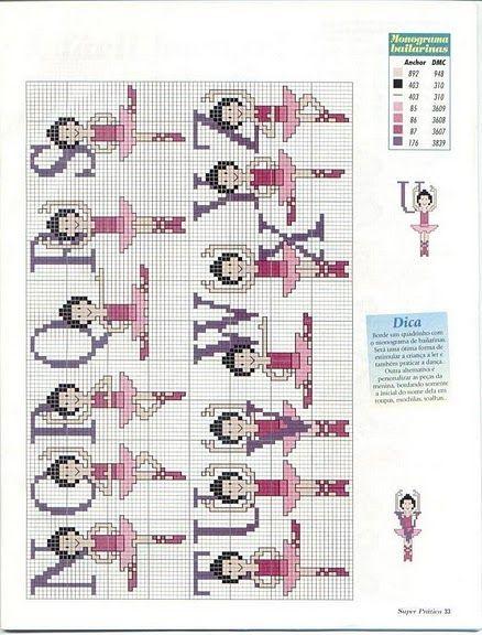 Alfabeto de balletistas para punto de cruz. | Oh my Alfabetos!