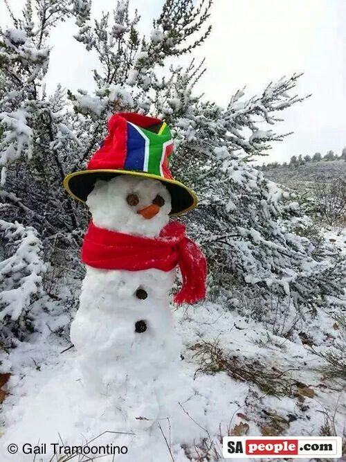 Snow in sa. Love the hat!