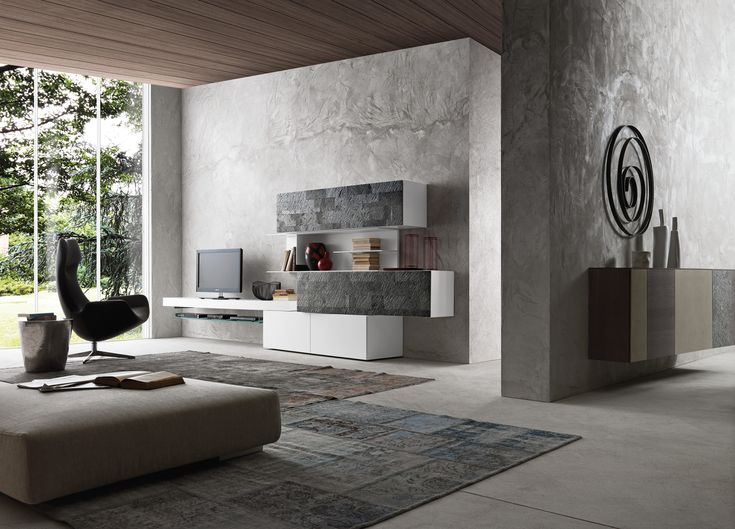 PRESOTTO | Matt bianco candido lacquered base units, wall-hung bench and bookcase, matt bianco candido lacquered wall unit carcass with patchwork Galaxy stone fronts. The wall-hung inclinArt sideboard can be seen in the background.__ Base, panca sospesa e libreria in laccato opaco bianco candido, struttura elementi pensili in laccato opaco bianco candido con frontali in pietra patchwork Galaxy. Sullo sfondo madia sospesa inclinART.