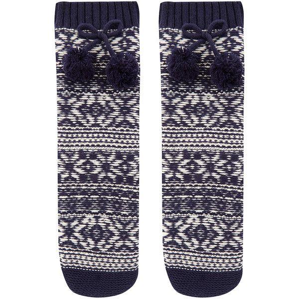 Accessorize Navy Reverse Knit Slipper Socks (£18) ❤ liked on Polyvore featuring intimates, hosiery, socks, fair isle socks, navy socks, navy blue hosiery, pom pom socks and navy hosiery