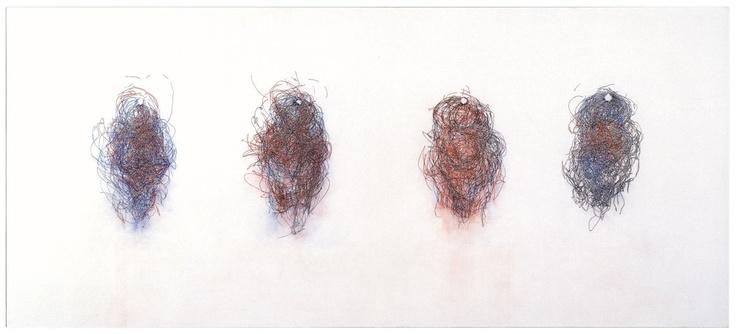 Claude Heath Willendorf Venus 1997 Alkyd resin, chalk powder, acrylic, on canvas 150 x 339.5 cms Walker Gallery, Liverpool