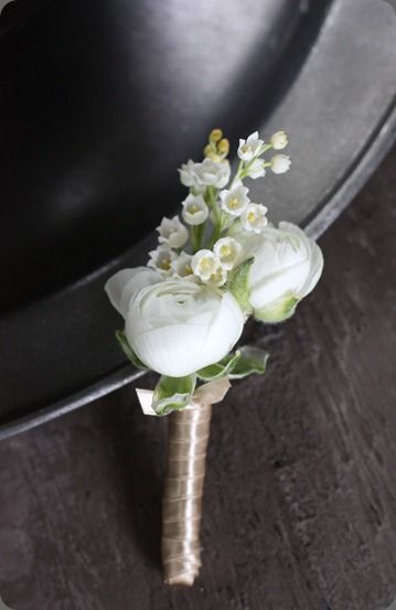 Lily of the valley is a traditional wedding flower and rose but button hole/ Nice but use different colours .