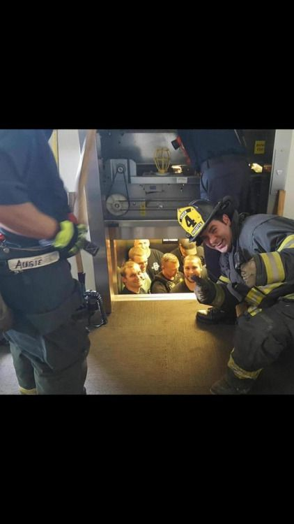 Kansas City fire department saves Kansas City police department from elevator.  Oh they're not going to hear the end of this