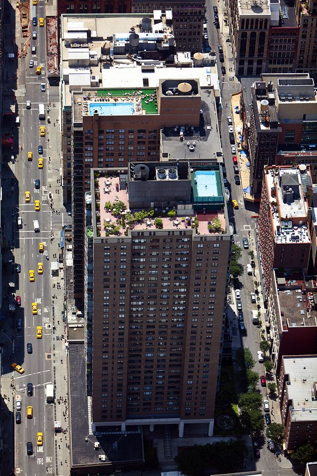 New York City in the fifth dimension. Gardens on the roofs by Alex Mac Lean. 60 E 8th St, Noho, Manhattan