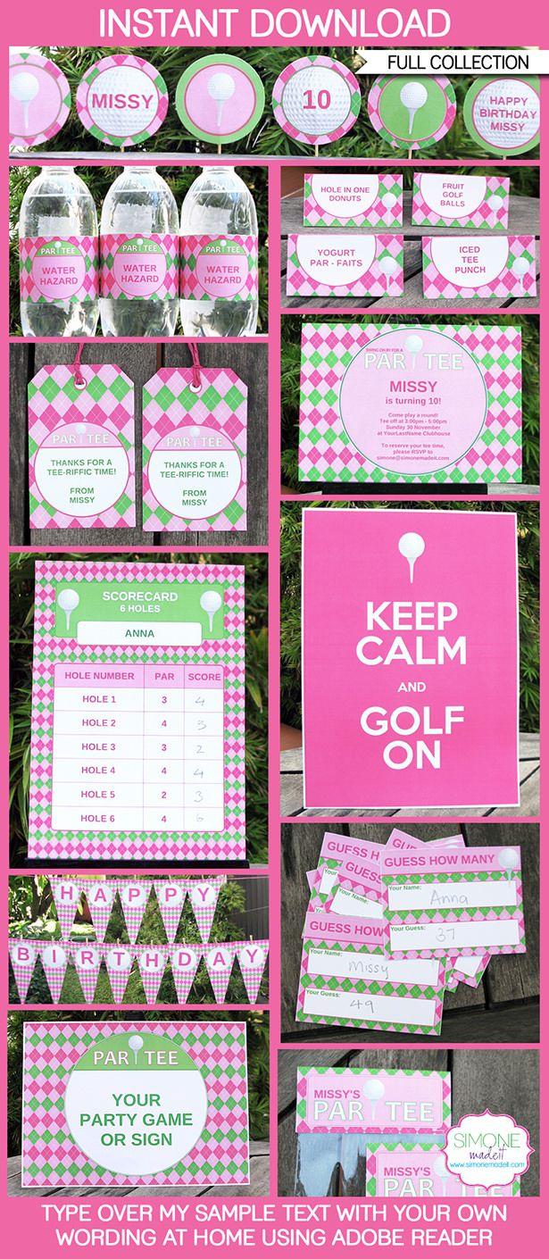 Pink Golf Birthday Party Printables, Invitations & Decorations   Editable Theme Templates   INSTANT DOWNLOAD $12.50 via SIMONEmadeit.com