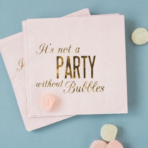 It's not a party without bubbles! Gorgeous pink and gold foil napkins for hen parties and any girls night #hen #party #classy #stylish #napkins #cocktails #happyhour #decorations