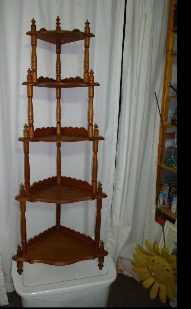 Vintage 5 Tier Medium Wood Corner Shelf Knick Knack Plant
