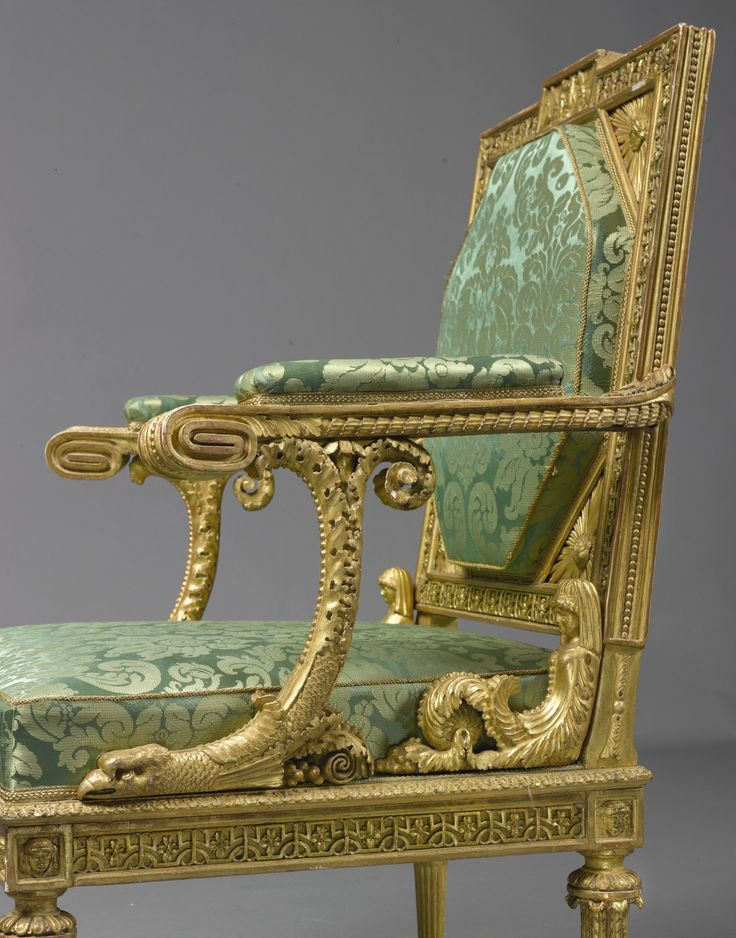 A NEAR PAIR OF AUSTRIAN NEOCLASSICAL CARVED GILTWOOD ARMCHAIRS VIENNA, LATE 18TH CENTURY