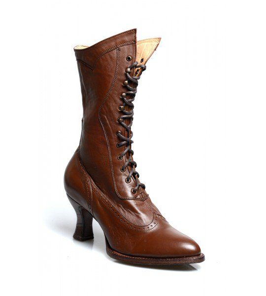 Dress up any outfit or gown with these Jasmine Modern Victorian Lace Up Leather Boots in Cognac by Oak Tree Farms!
