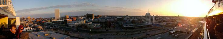 Panoramic of the Carnival Magic leaving Galveston, Texas