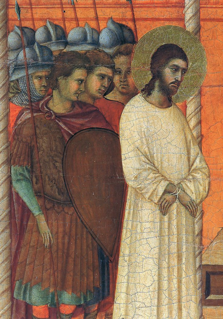"artist-buoninsegna:  ""Christ before Pilate (Fragment) via Duccio di Buoninsegna  Medium: wood, tempera"""