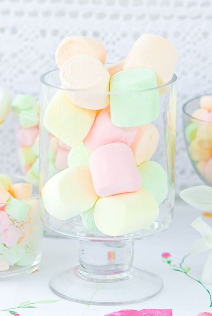 Pastel Marshmallows in Jar or Placed in a Teacup.