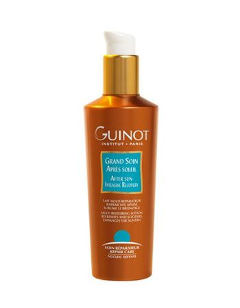 Guinot After Sun Intensive Recovery.  This restoring and moisturising lotion soothes skin while restoring freshness and comfort after sun exposure. Calms redness and prolongs tan.  #guinot #milesforstyle