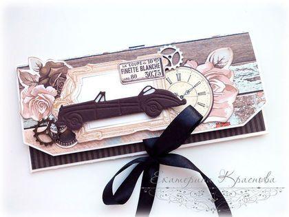 """Купить Мужской конверт для денег """"Ретро-автомобиль"""" - конверт мужской, Конверт…"""