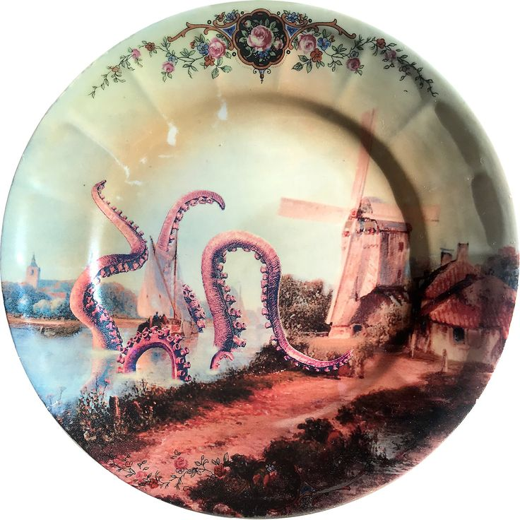 Octopus Attack - Vintage Porcelain Plate Full Print - #0370 by ArtefactoStore on Etsy
