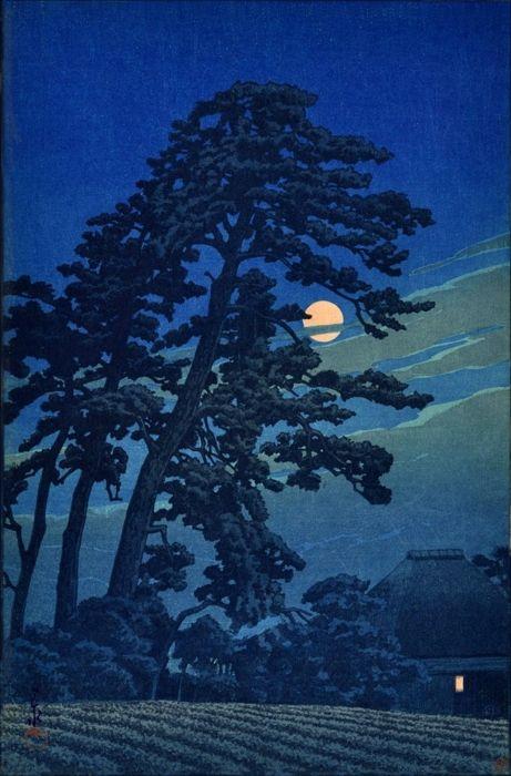'Moon at Megome' (1930) woodblock print by Hasui KawaseJapan Art, Woodblock Prints, Kawase Not Sui, Full Moon, Japan Woodblock, Japanese, Kawa Hasui, 1930, Hasui Kawase
