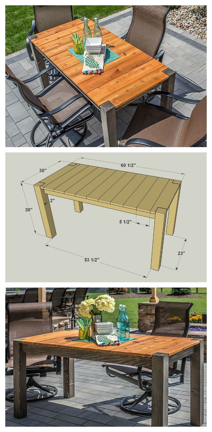 DIY Cedar Patio Table :: FREE PLANS at buildsomething.com http://www.uk-rattanfurniture.com/product/garden-hanging-chair-alfresco-marbella-luxury-chair-with-cushions/