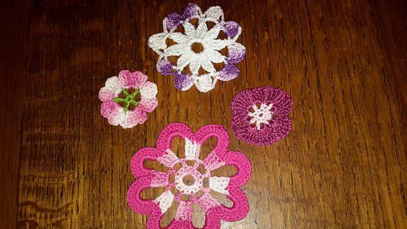 Lot de 4 Appliqués Fleurs en coton  Multicolores