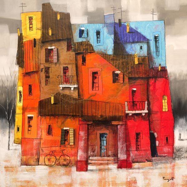 Paolo Fumagalli dipinto borgo di case - fluidofiume galleria d'arte Trieste