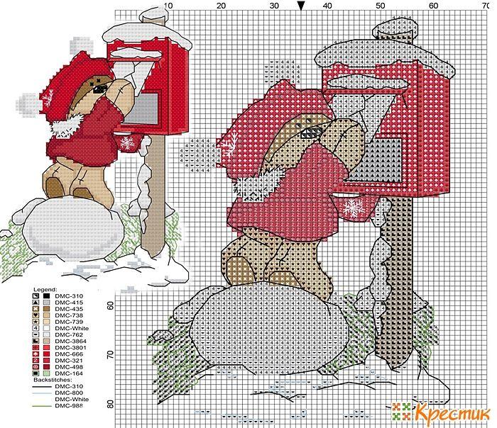 Orso con cassetta delle lettere a Natale