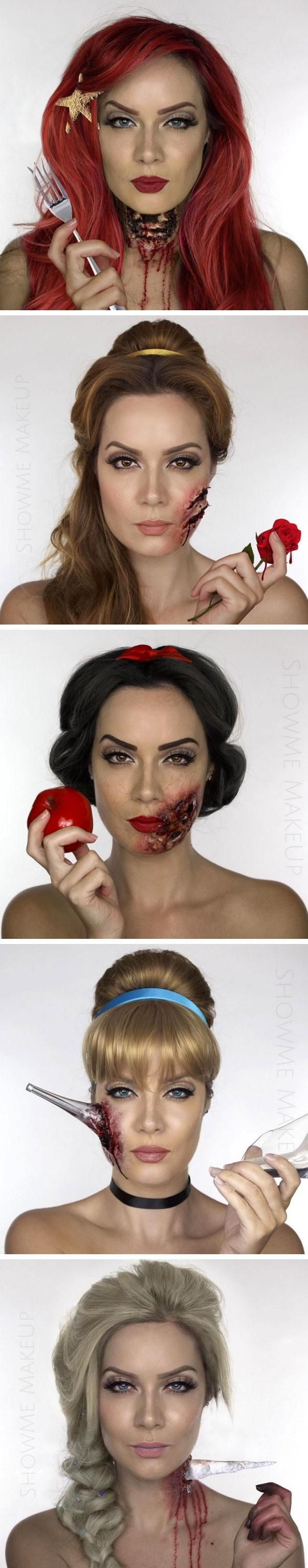 Cool and terrifying! Zombie Disney makeup for Halloween