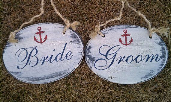 NAUTICAL Wedding Signs w/ANCHOR Bride and Groom Chair Hangers BEACH Wedding Signs Navy & Red Wedding, Navy Wedding. $37.00, via Etsy.