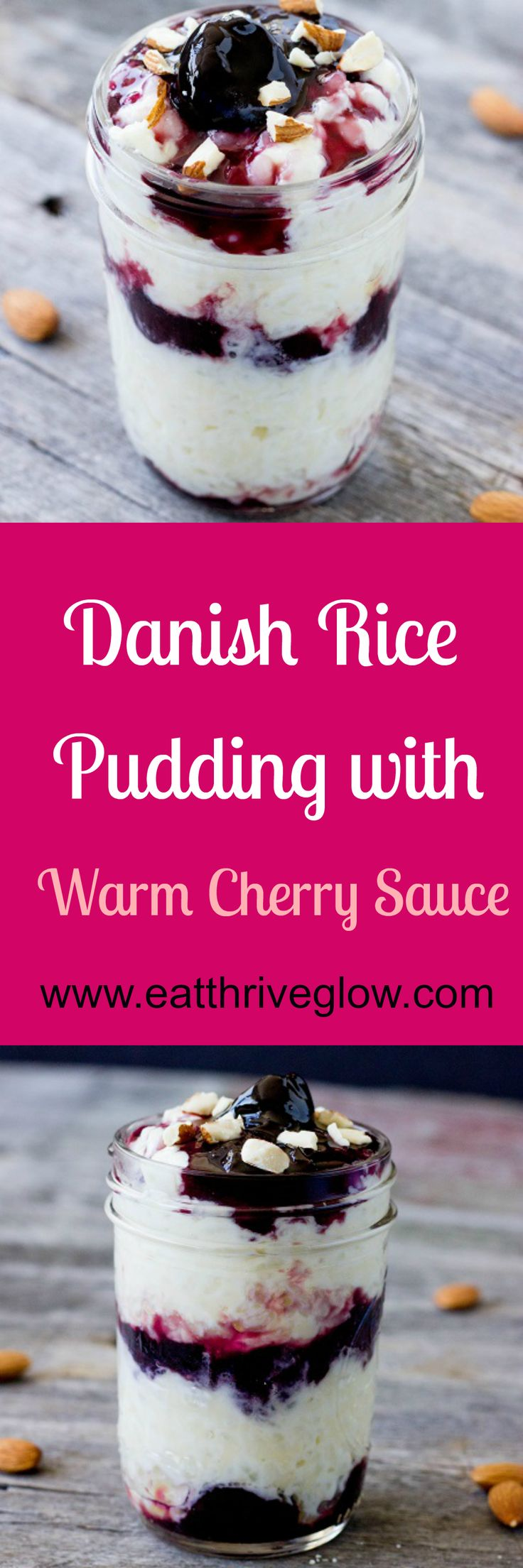 Recipe for a traditional, creamy Danish rice pudding dessert with warm cherry sauce, aka Risalamande - Eat Thrive Glow