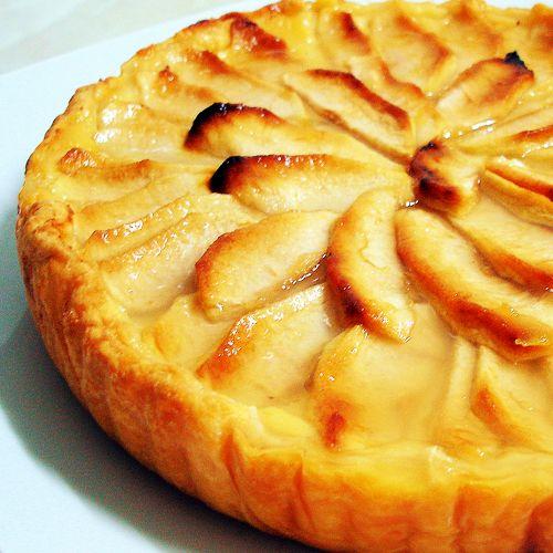 Tarta de manzana con crema pastelera Tarta de manzana vegana