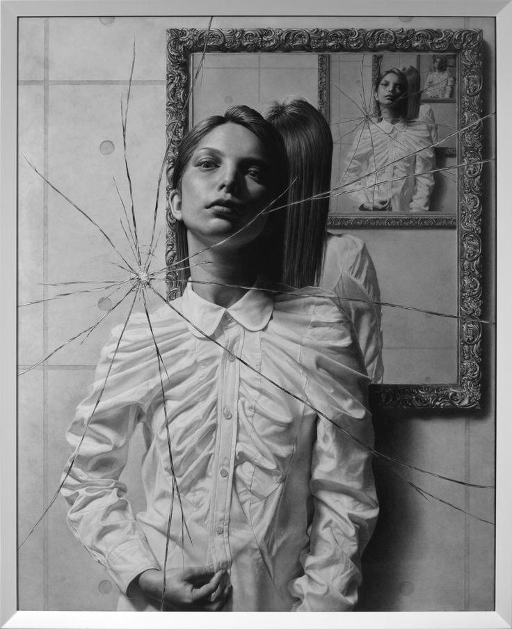 Taisuke Mohri, The Mirror, pencil on paper, drawing: 91.2x73cm, frame: 95.3x77.1cm, 2016