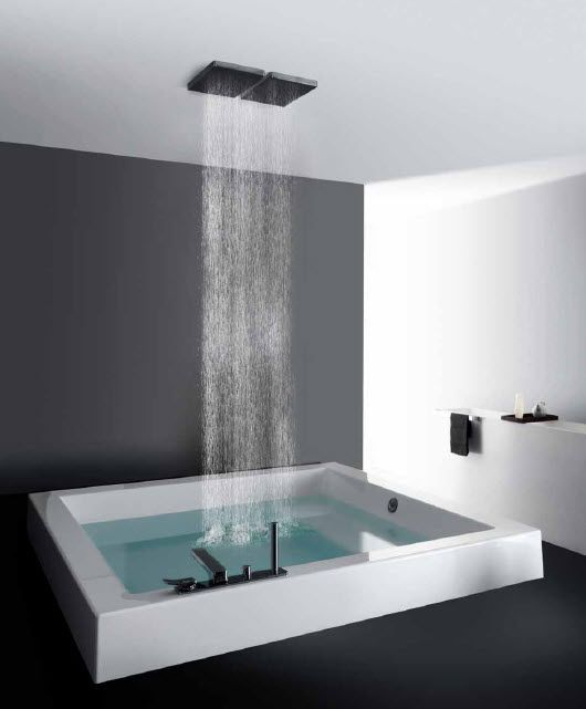 Sunken square bathtub with ceiling shower heads - love this idea but would like it to be more rustic looking