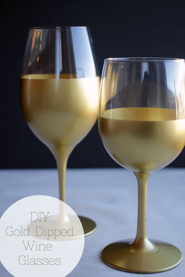 DIY Gold Dipped Wine Glasses | Handmade in the Heartland