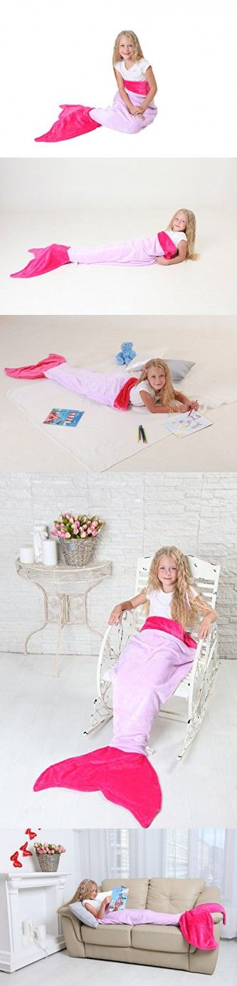 Mermaid Tail Blanket - Soft and Warm Polar Fleece Fabric Blanket by Cuddly Blankets for Kids and Teens (Ages 3-12) (Purple and Hot Pink)