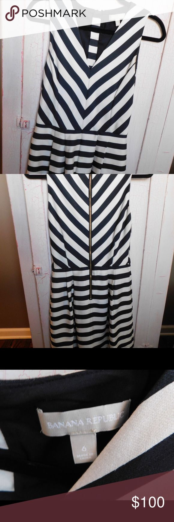Banana Republic Striped Formal Dress Only worn once. Great condition. Gold zipper up the back. Lined. Banana Republic Dresses