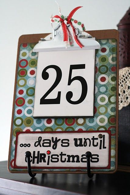 easy and fun: Holiday, Christmas Countdown, Christmas Crafts, Christmas Winter, Christmas Advent, Advent Calendar, Countdown Clipboard, Christmas Ideas, Craft Ideas