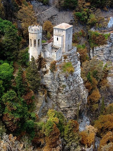 Tower in Erice, Sicily, Italy