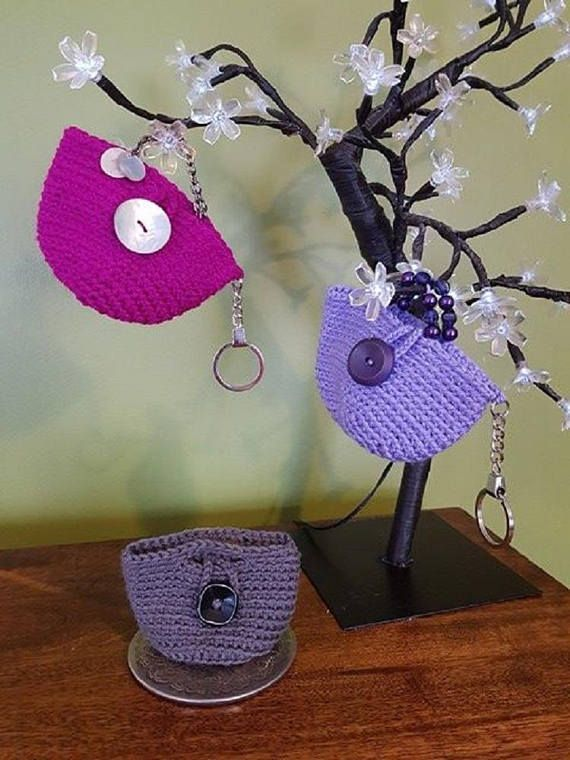 Lilac Crochet Bag Key Chain Ladies Key Fob Accessory Grey Handmade Key Ring Easter Teacher Gift Birthday Gift Mothers Day Shopping Bag These Bag in a Bag key rings hold a plastic carrier bag so youll never be without a bag when you nip to the shops and come out with more than that pint of