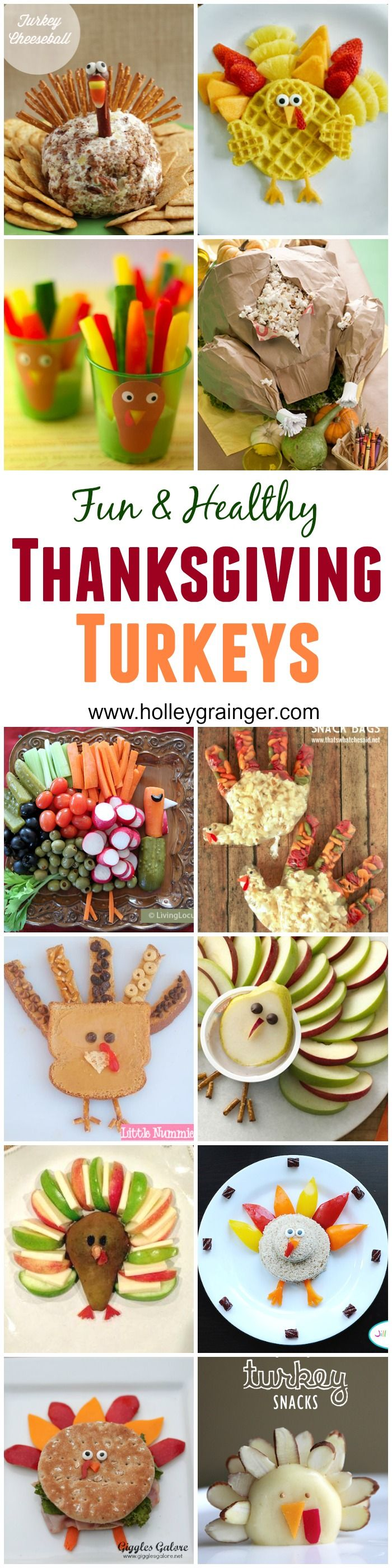 Fun Food Alert: 21 Fun and Healthy Thanksgiving Turkeys compiled by Holley Grainger Nutrition