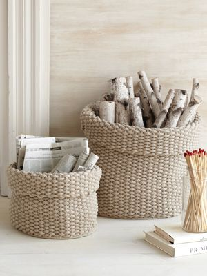Here's a surefire way to make everyday kindling a hot commodity: Stash it in these slouchy-but-sturdy cotton baskets.