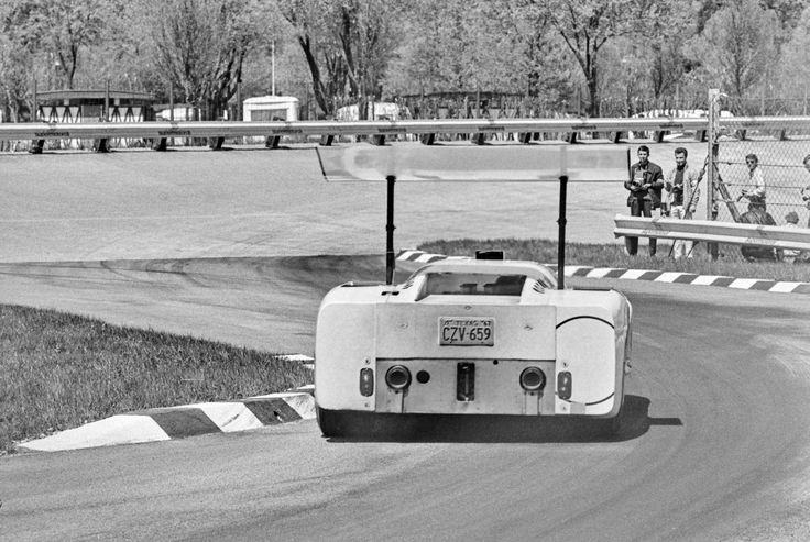 Monza, 1967. The Chaparral turns onto the famous banking