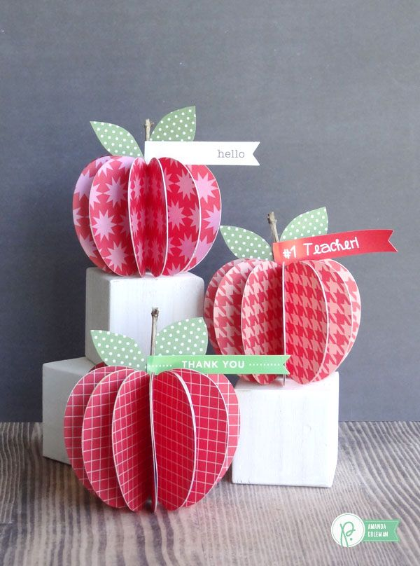 Back to School Paper Apples for Teacher by @popperandmimi using @Pebblesinc collections