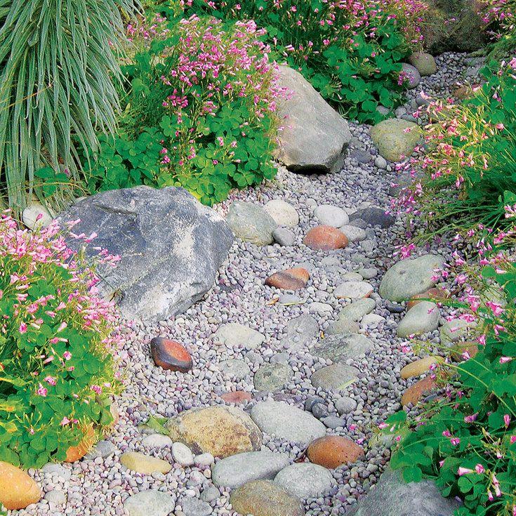 build a dry creek bed - Matchstick Tile Garden Decoration