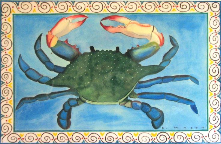 "Place mat by Ellie Wyeth - ""Blue Crab"""