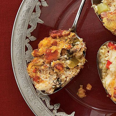 Creole Cornbread Dressing - dressed up classic cornbread dressing with andouille sausage, sherry, and Creole seasoning