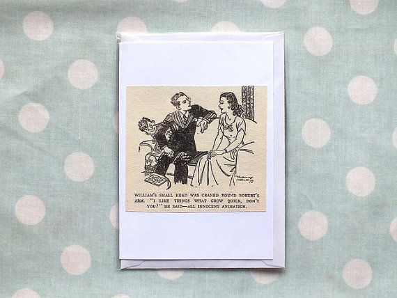 Courting Couple - Just William Valentine's card handmade from a vintage children's book by ellabetsyboo